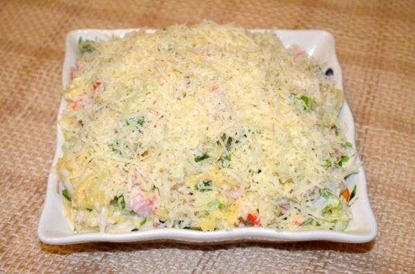 Салат крабовые палочки ананас сыр чеснок